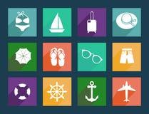 Icônes plates de voyage et de vacances Photos stock