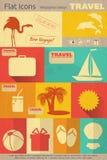 Icônes plates de voyage réglées Images libres de droits