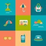 Icônes plates de voyage réglées Illustration Libre de Droits