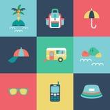 Icônes plates de voyage réglées Illustration Stock