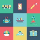 Icônes plates de voyage réglées Illustration de Vecteur