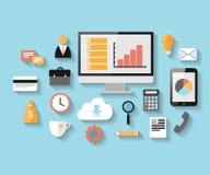 Icônes plates de Web d'affaires et de vente réglées Photos stock