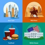 Icônes 2x2 plates des Etats-Unis réglées illustration stock