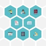 Icônes plates livre, tactique, feuille et d'autres éléments de vecteur Ensemble d'icônes plates d'enregistrement Photo libre de droits