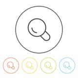 Icônes plates (loupe, recherche), illustration de vecteur