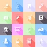 Icônes plates médicales illustration de vecteur