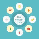Icônes plates maïs, chaux, fruit de jungle et d'autres éléments de vecteur L'ensemble de Berry Flat Icons Symbols Also inclut la  Photo stock