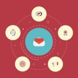 Icônes plates message, résumé de client, télévision et d'autres éléments de vecteur Ensemble de lancer des symboles sur le marché Image libre de droits