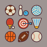 Icônes plates modernes d'articles de sport réglées Images stock