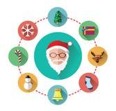 Icônes plates modernes de jour du père noël et de Noël Images libres de droits