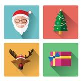 Icônes plates modernes de jour du père noël et de Noël Photographie stock libre de droits