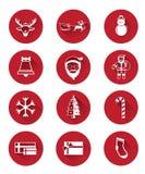 Icônes plates modernes de jour du père noël et de Noël Photo libre de droits