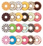 Icônes plates modernes de style des butées toriques colorées illustration de vecteur