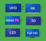 Icônes plates modernes de TV Images libres de droits