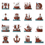 Icônes plates nautiques de couleur Images libres de droits