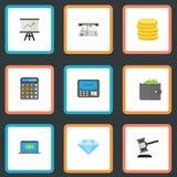 Icônes plates ordinateur, gemme de bijou, machine de guichet et d'autres éléments de vecteur Photographie stock libre de droits