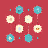 Icônes plates planche à pain, omelette, poêle et d'autres éléments de vecteur L'ensemble de symboles plats d'icônes de nourriture Photo libre de droits