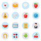 Icônes plates pour l'illustration de vecteur d'icônes de casino et d'icônes de jeu Photographie stock libre de droits