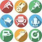 Icônes plates pour le matériel de construction Images libres de droits