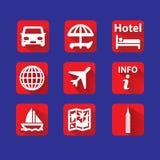 Icônes plates pour le voyage Image stock