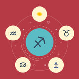 Icônes plates prédiction, crabe, Taureau et d'autres éléments de vecteur L'ensemble de symboles plats d'icônes d'astrologie inclu Photos stock