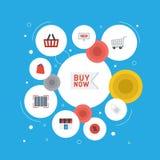 Icônes plates Qr, achats, pourcentage et d'autres éléments de vecteur Ensemble d'icônes plates de magasin Images libres de droits