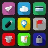 Icônes plates réglées Photographie stock libre de droits
