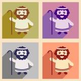 Icônes plates réglées avec le long père d'ombre de Jesus Christ Photographie stock libre de droits
