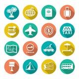 Icônes plates réglées de voyage, tourisme Photographie stock libre de droits