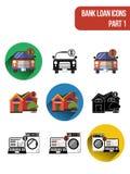 Icônes plates rondes pour différents types de services de crédit bancaire Partie 1 Image libre de droits