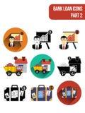 Icônes plates rondes pour différents types de services de crédit bancaire Partie 2 Images libres de droits