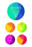 Icônes plates sur le fond lumineux de cercle Image libre de droits