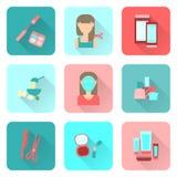 Icônes plates sur le thème du soin d'une femme Illustration Libre de Droits
