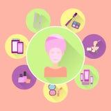 Icônes plates sur le thème du soin d'une femme beauté Illustration Libre de Droits