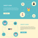 Icônes plates vacances, histoire, lunettes et d'autres éléments de vecteur L'ensemble de symboles plats d'icônes d'histoire inclu Image libre de droits