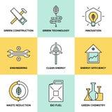 Icônes plates vertes de technologie et d'énergie propre réglées illustration stock