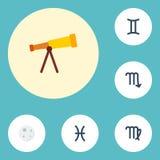 Icônes plates Vierge, optique, signe de zodiaque et d'autres éléments de vecteur L'ensemble de symboles plats d'icônes inclut éga Photo stock