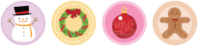 4 icônes plates vol. 3 de Noël Images stock
