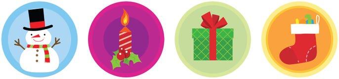 4 icônes plates vol. 1 de Noël Photos libres de droits
