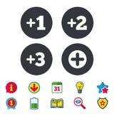 Icônes plus Symbole positif Ajoutez un plus de signe illustration stock