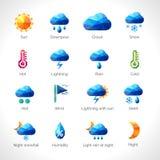 Icônes polygonales de temps illustration stock
