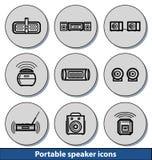 Icônes portatives de lumière de haut-parleur Photographie stock