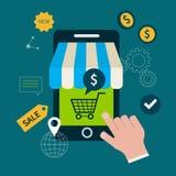 Icônes pour des achats en ligne illustration de vecteur