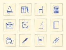 Icônes pour des fournitures scolaires Images stock