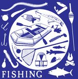 Icônes pour la pêche Images libres de droits