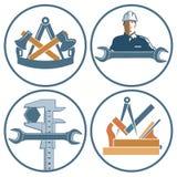 Icônes pour le charpentier, le serrurier et l'ingénieur Photos stock