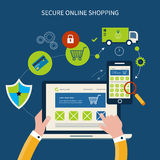 Icônes pour le marketing et la sécurité mobiles en ligne Images libres de droits