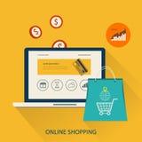 Icônes pour le marketing mobile et les achats en ligne illustration stock