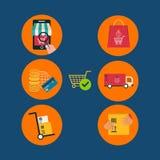 Icônes pour le marketing mobile et les achats en ligne illustration libre de droits