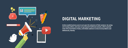 Icônes pour le marketing numérique Photos libres de droits